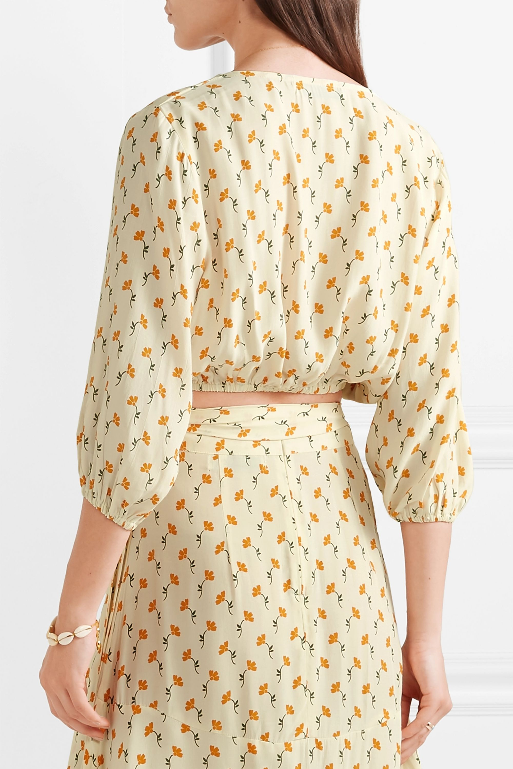 Faithfull The Brand La Guardia cropped tie-front floral-print crepe top