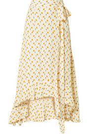 Faithfull The Brand Kamares ruffled wrap-effect floral-print crepe skirt