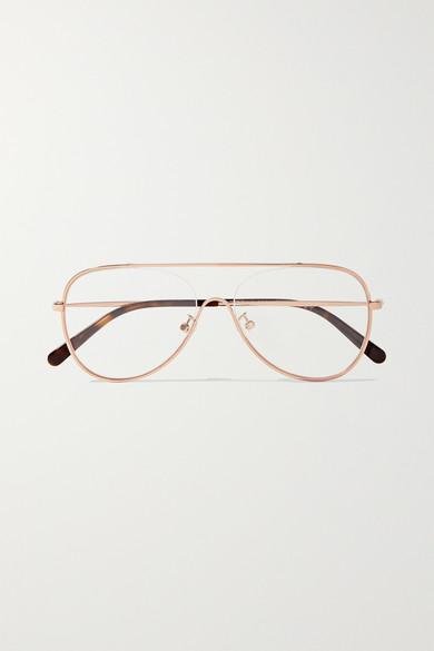5702753e3df5 Stella McCartney | Aviator-style rose gold-tone optical glasses |  NET-A-PORTER.COM