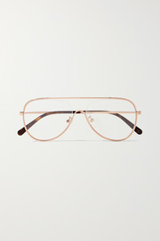 Stella McCartney Aviator-style rose gold-tone optical glasses