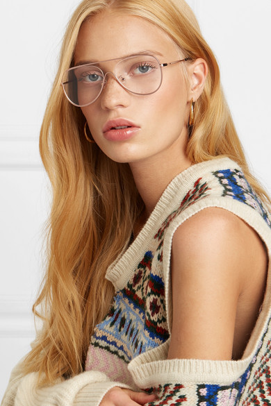4a8c82f73daf Stella McCartney. Aviator-style rose gold-tone optical glasses. $235  $14140% OFF. Reduced further. Zoom In
