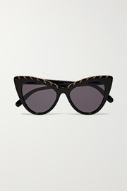 Chain-embellished cat-eye acetate sunglasses