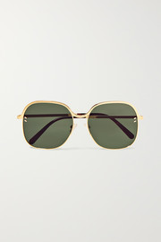 Stella McCartney Square-frame gold-tone and acetate sunglasses