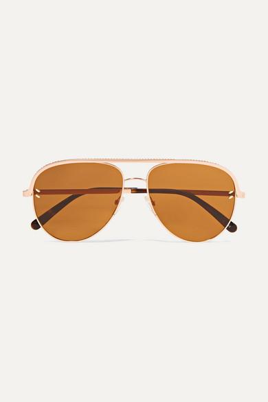28eaaf8b16a3 Stella McCartney | Aviator-style rose-gold-tone and acetate sunglasses |  NET-A-PORTER.COM