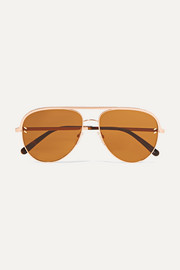Stella McCartney Aviator-style rose-gold-tone and acetate sunglasses