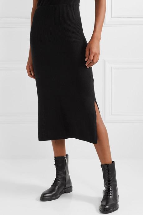 Cashmere midi skirt