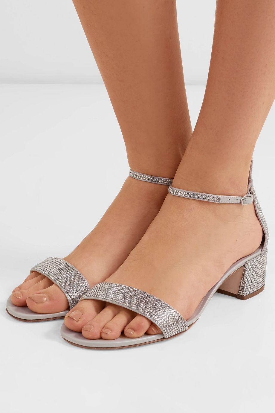 René Caovilla Celebrita crystal-embellished leather sandals