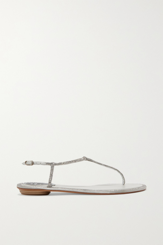 René Caovilla Diana crystal-embellished metallic leather sandals