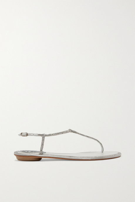 Silver Diana crystal-embellished metallic leather sandals | René Caovilla dzHPBv