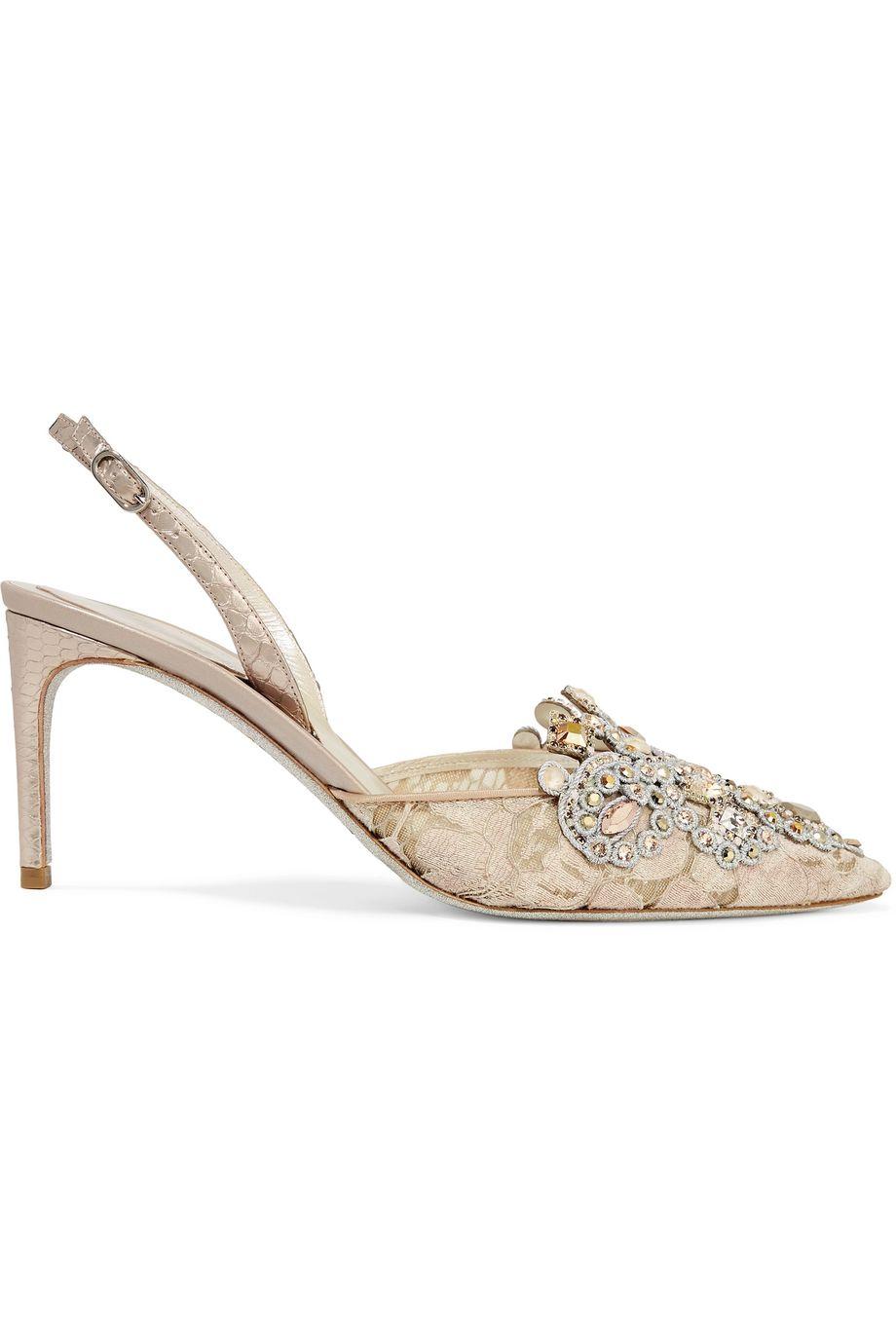 René Caovilla Veneziana embellished lace and satin slingback pumps