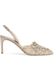 René Caovilla Veneziana embellished lace and satin slingback pumps