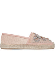 René Caovilla Veneziana embellished corded lace and leather espadrilles