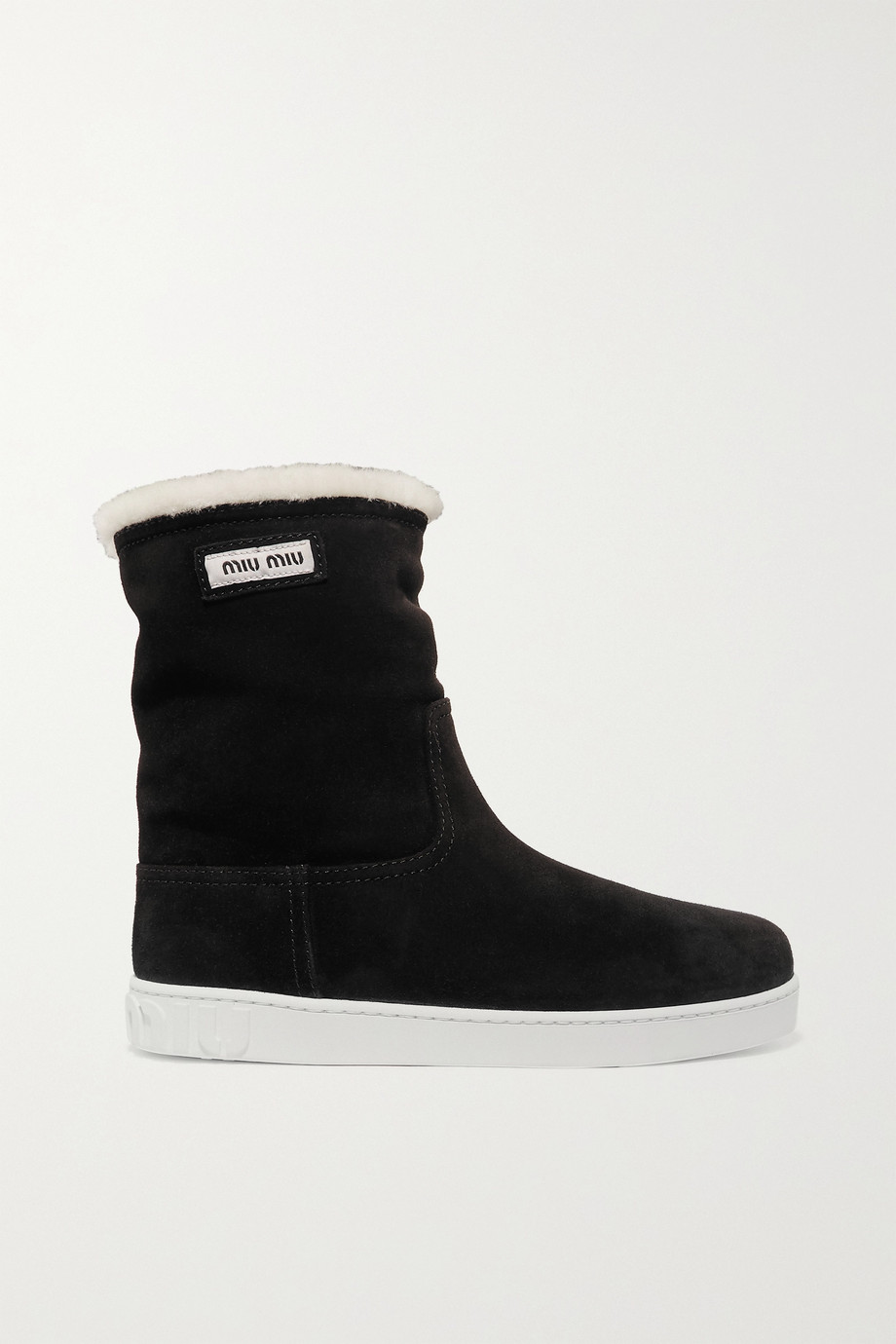 Miu Miu Shearling-lined logo-print suede boots