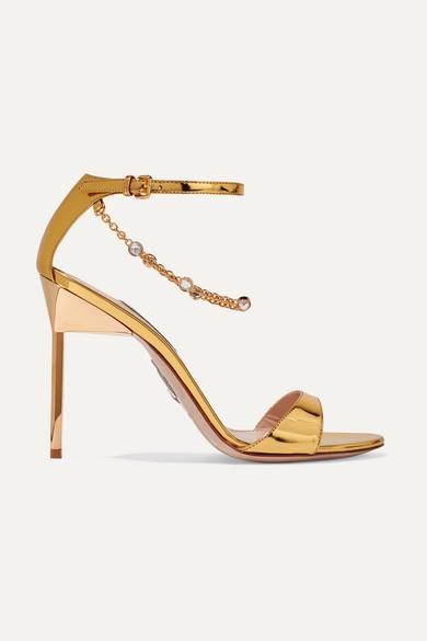 MIU MIU | Miu Miu - Embellished Mirrored-leather Sandals - Gold | Goxip