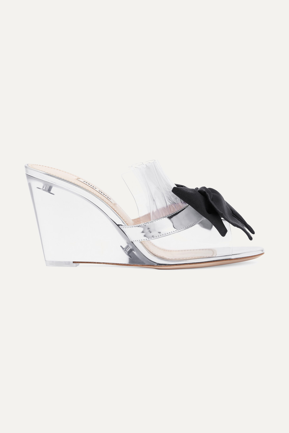 Miu Miu Bow-embellished Perspex and metallic leather wedge sandals