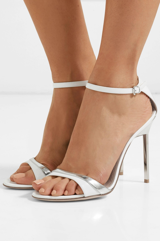 Miu Miu Metallic-trimmed patent-leather sandals