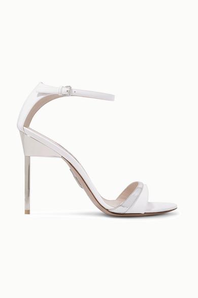 Miu Miu Sandals Metallic-trimmed patent-leather sandals