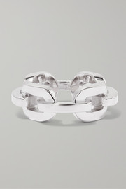 Chain Link silver and rhodium-plated ring