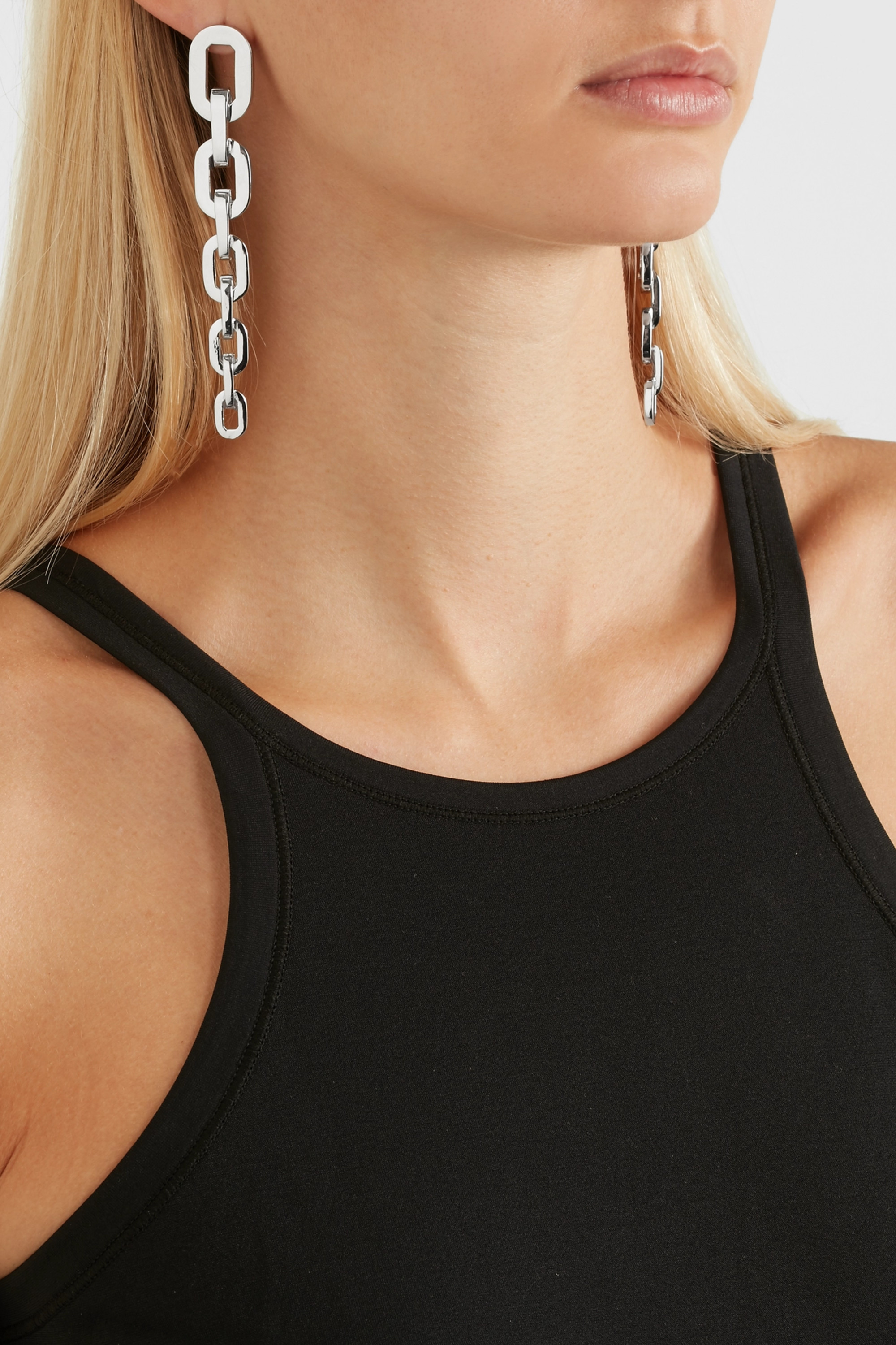 Jennifer Fisher Chain Link silver and rhodium-plated earrings