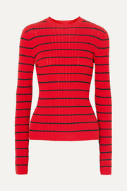 Striped ribbed-knit wool-blend sweater