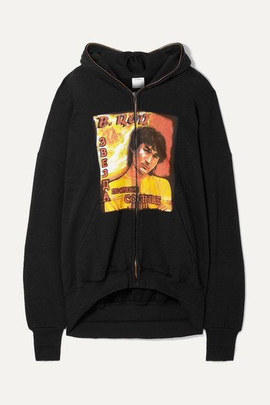 Idol Oversized Cutout Printed Cotton Jersey Hoodie by Vetements