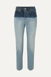 Split two-tone high-rise straight-leg jeans