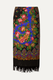 Scarf wrap-effect fringed printed wool midi skirt