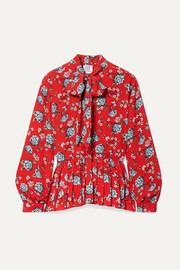 Pussy-bow pleated floral-print crepe blouse