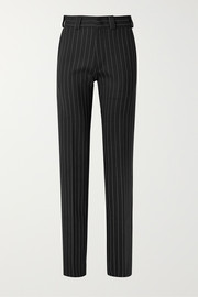 Pinstriped wool-blend straight-leg pants