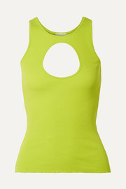 Vetements Neon cutout ribbed stretch-cotton tank