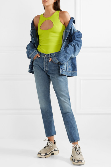Vetements Tops Neon cutout ribbed stretch-cotton tank