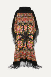Hooded tasseled printed wool-twill and cotton-jersey maxi dress