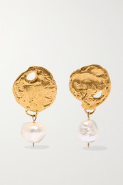 Alighieri Beacon gold-plated pearl earrings