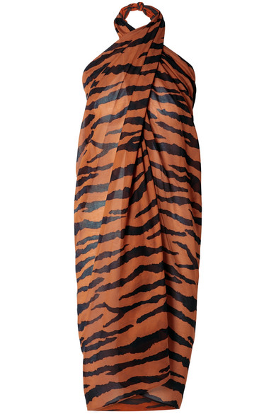 ON THE ISLAND BY MARIOS SCHWAB Psili Tiger-Print Cotton-Voile Pareo in Orange