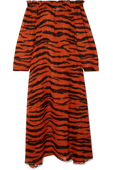 ON THE ISLAND BY MARIOS SCHWAB St Bart Off-The-Shoulder Tiger-Print Silk-Georgette Maxi Dress in Zebra Print