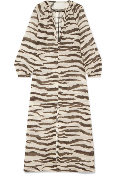 ON THE ISLAND BY MARIOS SCHWAB Loreana Tiger-Print Cotton-Voile Maxi Dress in Zebra Print