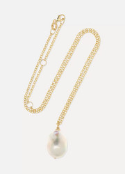 Baroque 9-karat gold pearl necklace