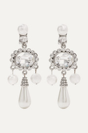 Silver-plated, faux pearl and Swarovski crystal clip earrings