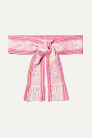 Fringed embroidered cotton-jacquard waist belt