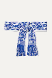 Fringed cotton-jacquard waist belt
