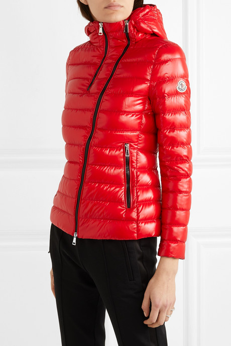 Hooded quilted glossed-shell down jacket