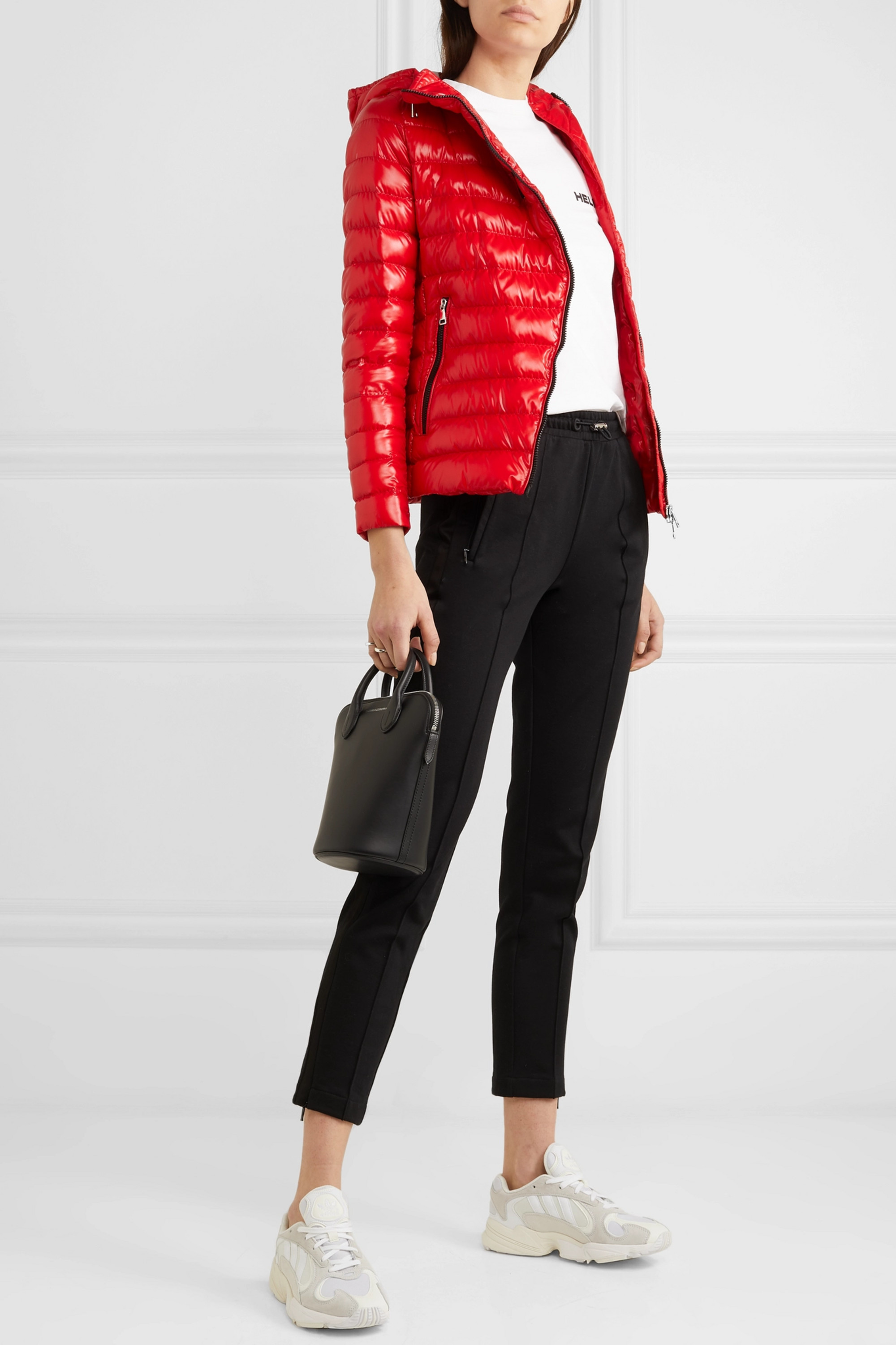 Moncler Hooded quilted glossed-shell down jacket