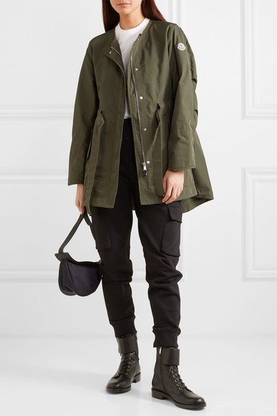Moncler Jackets Hooded gabardine and glossed-shell jacket