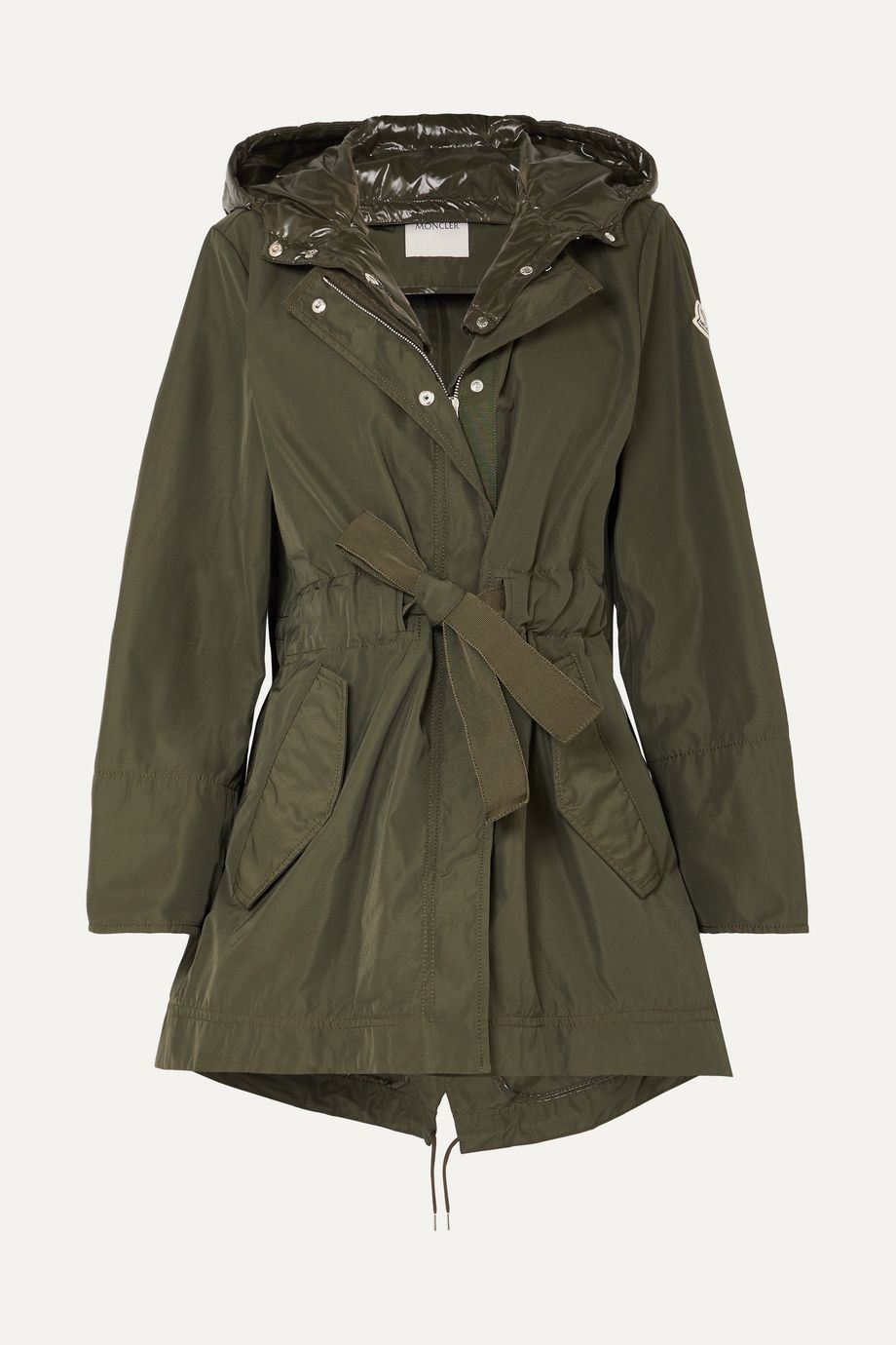 Moncler Hooded gabardine and glossed-shell jacket