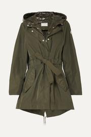 몽클레어 Moncler Hooded gabardine and glossed-shell jacket