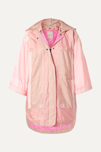 MONCLER | Moncler - Hooded Grosgrain-trimmed Paneled Shell Parka - Pink | Goxip