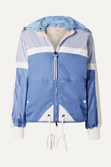 MONCLER | Moncler - Hooded Grosgrain-trimmed Shell Jacket - Blue | Goxip