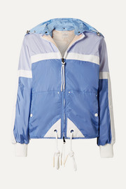 Hooded grosgrain-trimmed shell jacket
