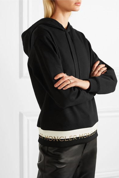 Moncler Tops Intarsia-trimmed cotton-blend jersey hoodie