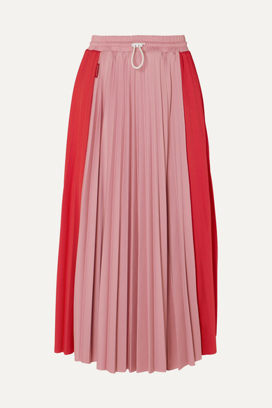 Pleated Satin Midi Skirt - Midi - NET-A-PORTER
